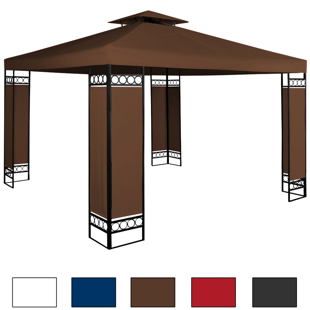 Pavillon 3x3m Festzelt Partyzelt Gartenpavillon Bierzelt Garten Eventpavillon Braun