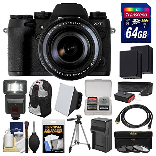 Fujifilm X-T1 Weather Resistant Digital Camera & 18-135mm XF Lens with 64GB Card + Case + Flash + Batteries & Charger + Tripod + Kit (Fujifilm Xt 1 compare prices)