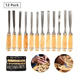Lehom Wood Carving Tools 12 Pcs Carbon Steel Sculpting Knife Kit Full Size Hand Carved Chisel Gouges and Chisels with Canvas Case for Beginners Hobbyists