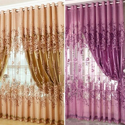 Buy Generic 250*100cm Peony Pattern Voile Curtain Living Room ...