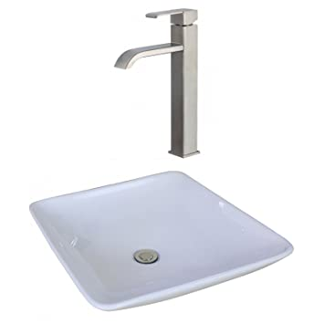"Jade Bath JB-17945 19.69"" W x 19.69"" D Square Vessel Set with Deck Mount CUPC Faucet, White"