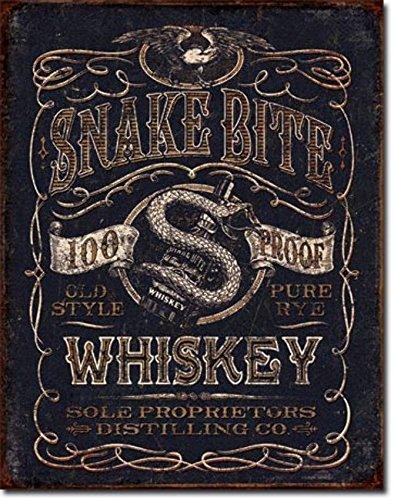 Snake Bite Whiskey targa placca metallo piatto Nuovo 31x40cm VS4540-1