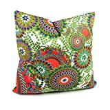 Benfan Cotton Canvas Decorative Square Throw Pillow Cover with Peacock Bird Tails Pattern Size 18 by 18 Inches