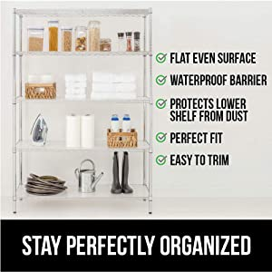 Gorilla Grip Heavy Duty Premium14 x 14 InchWire Shelf Liners, Set of 6, Cube Value Pack, Waterproof, Plastic Liner for Wired Metal Rack Shelving and Cabinets Shelves, Kitchen, Garage, Charcoal (Color: Charcoal, Tamaño: 14 x 14 x 6)