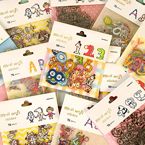 DoDoo(TM) 4 Packs DIY Cartoon Stylish Numbers Alphabets PVC Decorative Diary Album Calendar Adhesive Sticker Scrapbooking Craft (320 Stickers) (Cute Number Stickers compare prices)