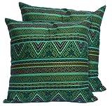 CushionArt Seesan 18x18in Decorative Throw Pillow Case Cushion Covers - Green - Set of 2