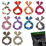 BMC 10pc Mixed Design Wired Hair Tie Twist Bow Headband Scarf Wrap Accessory Lot