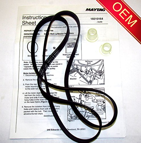 22002040 - ORIGINAL FACTORY OEM BELT & ISOLATOR KIT FOR MAYTAG NEPTUNE, ADMIRAL, AND CROSLEY WASHING MACHINES ( Will come in sealed Maytag or Whirlpool Bag with Instructions) (Maytag Washer Belt Kit compare prices)