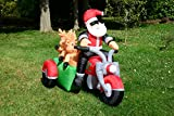 Christmas Lighted Airblown Inflatable Santa Riding Motorcycle w. Reindeers 5ft Yard Decoration