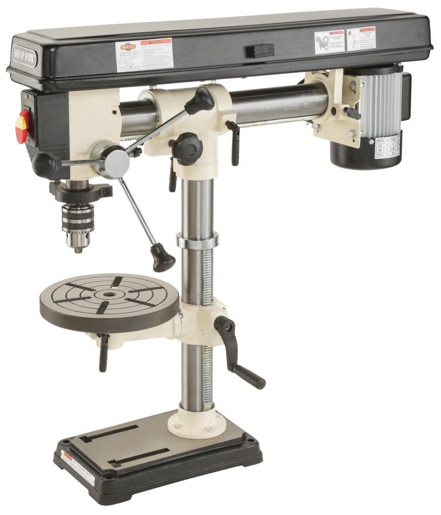 Shop Fox W1669 1 2 Horsepower Benchtop Radial Drill Press Power Stationary Drill Presses