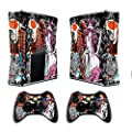 Xbox 360 Skin Sticker X360 Decals Custom Cover Skins Xbox360 Slim Modded Console Game Accessories Set Decal Xbox 360 S Stickers with 2 Wireless Remote Controllers - Tsunami by GameXcel ®