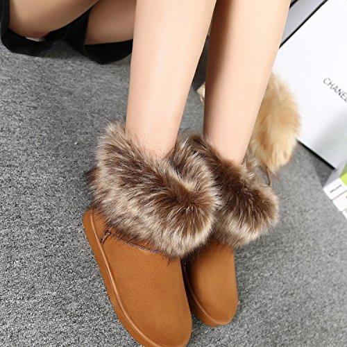 Stivaletti donna inverno caldo neve Faux Fox coniglio pelliccia scarpe , yellow , 39