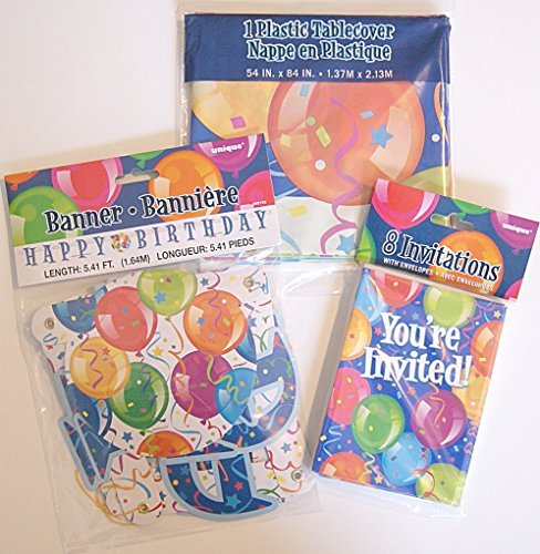 Colorful Balloon Birthday Party Supply Kit - Invitations, Table Cover, and Banner