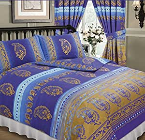 parure de lit 2 personnes motif indien bleu marine bleu ciel violet dor m tallique. Black Bedroom Furniture Sets. Home Design Ideas