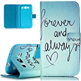 Galaxy S3 Case,ISAKEN Galaxy S3 Wallet Case,PU Leather Case for Galaxy S3,Galaxy S3 Cover,Luxury Elegant Printing Drawing Design Pattern PU Leather Magnetic Flip Wallet Case Credit Card Slot Magnetic Flip Protective Stand Case Cover for Samsung Galaxy S3 S 3 S III SIII i9300- forever and always love