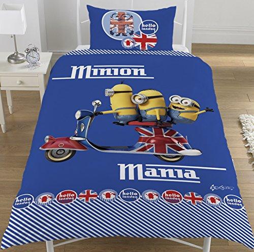 Minions - Set per letto singolo con copripiumone e federa, motivo: Minions a Londra