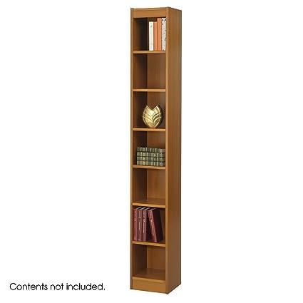 Safco 7-Shelf Veneer Baby Bookcase, 12-Inch W, Medium Oak