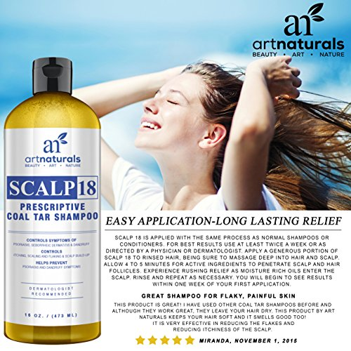 Art Naturals Scalp18 Coal Tar Therapeutic Anti Dandruff Shampoo 473ml - Helps clear symptoms of Psoriasis, Eczema, Itchy Scalp & Dandruff - Made in USA with Natural & Organic Ingredients-Sulfate Free