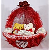 Beautiful Red Decorated Basket With Love Couple Teddy Bears
