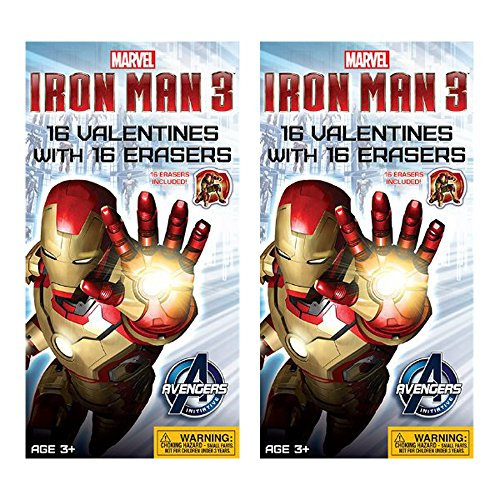 Iron Man 3 Avengers (2 Pack) 16 Count Valentines Day Cards W/2 Exciting Designs & 16 Bonus Erasers