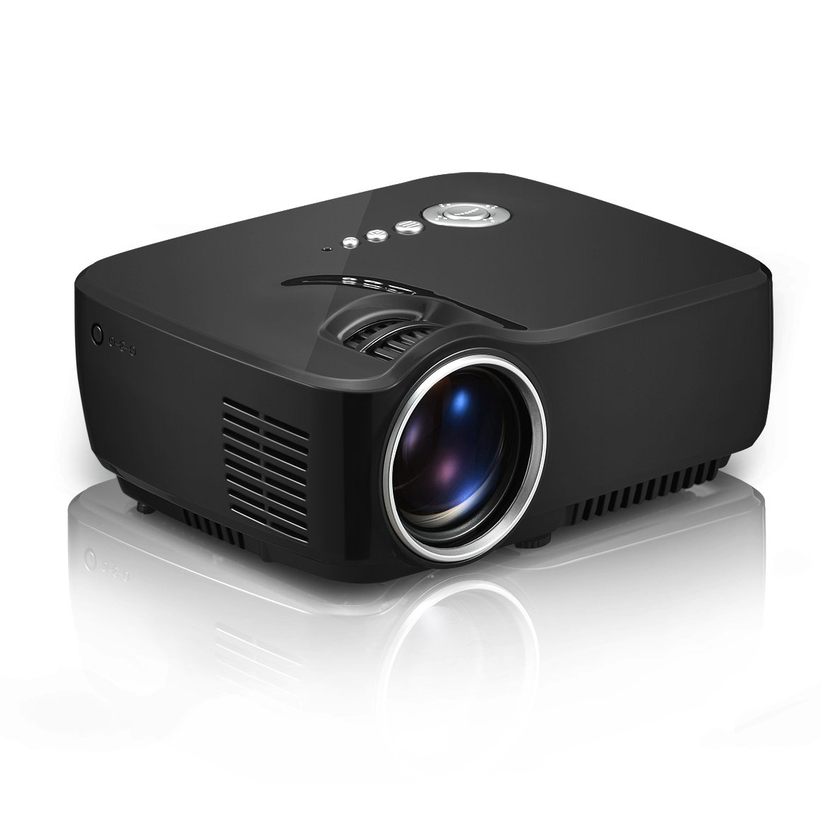 Simplebeamer GP70 LED Projector 1200 lumens 800*480 Multimedia Beamer Mini Portable 1080p Video Game Projectors support USB/TF/VGA/HDMI/AV Port for Home Theater( Black)