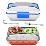 YOUDirect Electric Heating Bento Lunch Box - Portable Meal Heater Food Warmer Stainless Steel Plug Heating Food Container Leak-Proof Electronic Food Boxes for Home Office Use 110V (Blue.) (Color: Blue.)