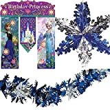 Frozen Party Decorations - 6 pc set- disney frozen banner , mylar snowflake garland and 4 12 inch large snowflakes
