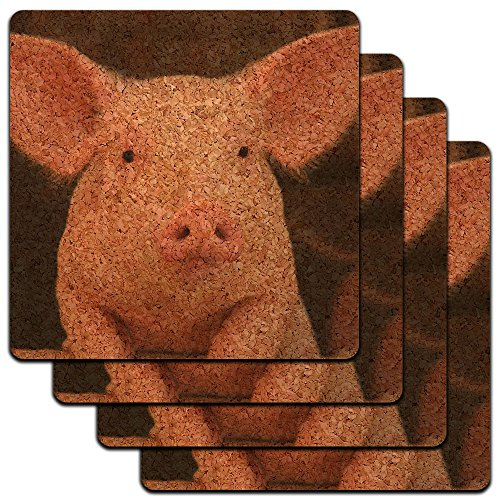 Little Pig Piggy Low Profile Cork Coaster Set