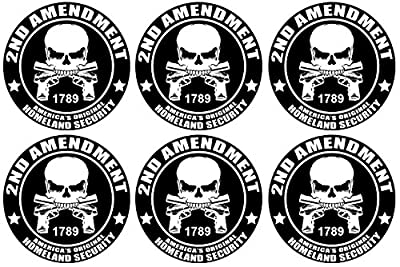 "6 Pack of 2nd Amendment Stickers; America's Original Homeland Security; Large 5"" Round 3M Vinyl Decals"