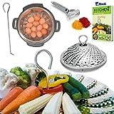 Steamer Basket - Instant Pot - BEST Bundle - Fits 3,5,6,8 Quart Instapot Pressure Cooker - 100% Stainless Steel - BONUS Accessories - Safety Tool + eBook + Vegetable Peeler|Use as Egg Rack Insert