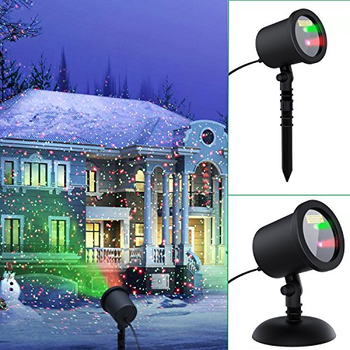 Decolighting Outdoor Waterproof Red and Green Laser light, Landscape Star Projector Blinking Lighting for Christmas Holiday Decoration, Stage light for Home Party Wedding and DJ Disco