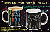 Coffee Mug - Star Wars Lightsaber Heat Chage Mug - Star Wars Cup 100 Percent Ceramic - Not Dishwasher or Microwave Safe - 12 Fl. Oz - Black - with Premium Stainless Steel Coffee Stir Bar