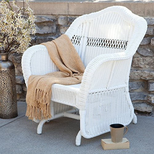 Coral Coast Casco Bay Resin Wicker Outdoor Glider Chair (White Wicker Resin Chair compare prices)