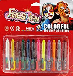 PIGLOO Non-Toxic Face Painting Crayon Pen Set for Kids, 12 Color Set