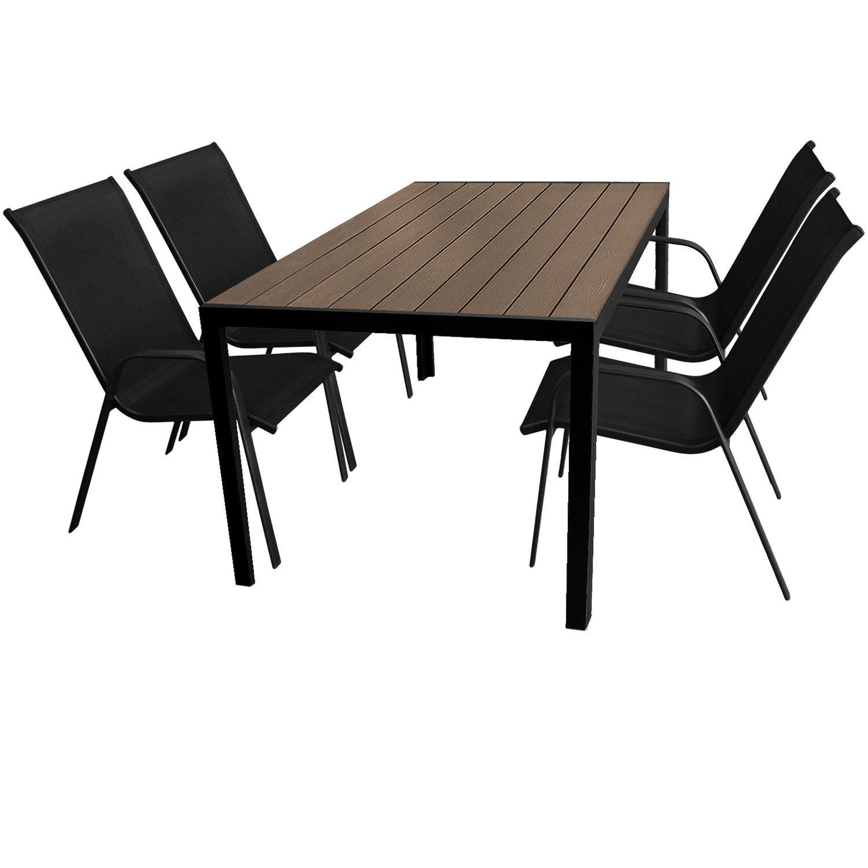 5tlg. Gartengarnitur Gartenmöbel Terrassenmöbel Set Sitzgruppe Aluminium Gartentisch 150x90cm mit Polywood Tischplatte + 4 stapelbare Gartenstühle mit Textilenbespannung jetzt kaufen