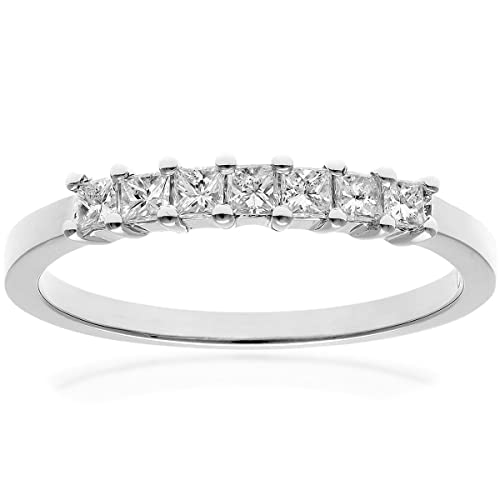 Naava 18ct White Gold Eternity Ring, J/I Certified Diamonds, Princess Cut