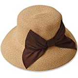 夏の紫外線対策 折りたたみ可能なUVカットできる大きいリボンのつば広帽子 000399-0051-61-