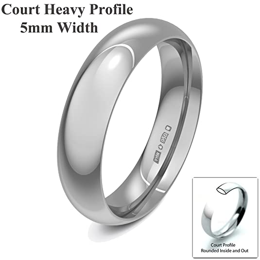 Xzara Jewellery - Palladium 500 5mm Heavy Court Profile Hallmarked Ladies/Gents 6.2 Grams Wedding Ring Band