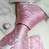 Pink Paisley Woven Silk Neckie Cufflinks Handkerchiefs Present Box Set white birthday gifts for man H6064