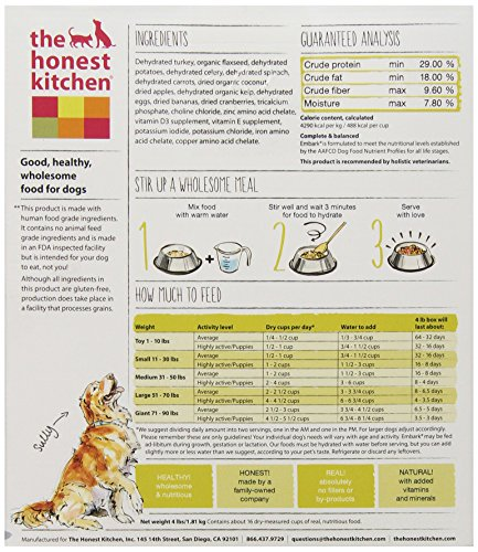 Best Deals The Honest Kitchen Embark Grain Free Turkey Dog Food 4 Lb Budkoo