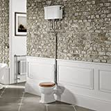 Traditional High Level Close Coupled Toilet Luxury Ceramic Cistern Pan & Oak Seat