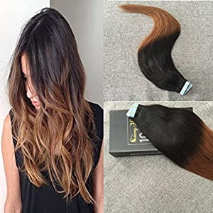 Sunny Beauty 18inch Two Tone Color Natural Black to Auburn Ombre Colored Tape in Hair Extensions Seamless Remy Human Hair Extensions 20pcs 50g