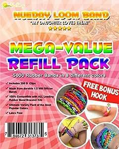 Rubber Band Loom Mega-Value Refill Kit - Includes 200 S Clips & FREE Bonus Hook - Perfect for Bracelets & Rings!