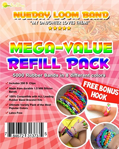 Rubber Band Loom Mega-Value Refill Kit - Includes 200 S Clips & FREE Bonus Hook - Perfect for Bracelets & Rings!