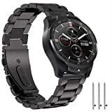 Ticwatch Pro & Gear S3 Bands, Olytop 22mm Quick Release Stainless Steel Metal Bands Replacement Strap Bracelet for Ticwatch Pro & Samsung Gear S3 Frontier/Classic & Smartwatch (Metal Black) (Color: Metal Black(5.7-8.3''))
