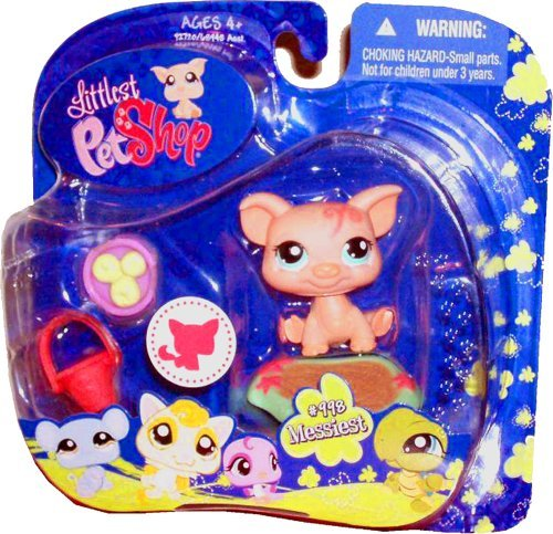 Hasbro Year 2009 Littlest Pet Shop Portable Pets Messiest Series Collectible Bobble Head Pet Figure Set #998 -...