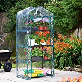 VonHaus 4 Tier Portable Mini Greenhouse with Clear PVC Cover - 63 x 28 x 20 inches