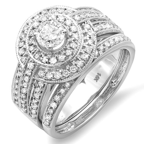 1.10 Carat (ctw) 14K White Gold Real Round Diamond Engagement Bridal Ring Set with Matching Band