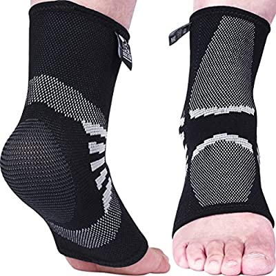 Ankle Compression Sleeves (1 Pair) - Support for Injury Recovery & Prevention - 1 Year Warranty