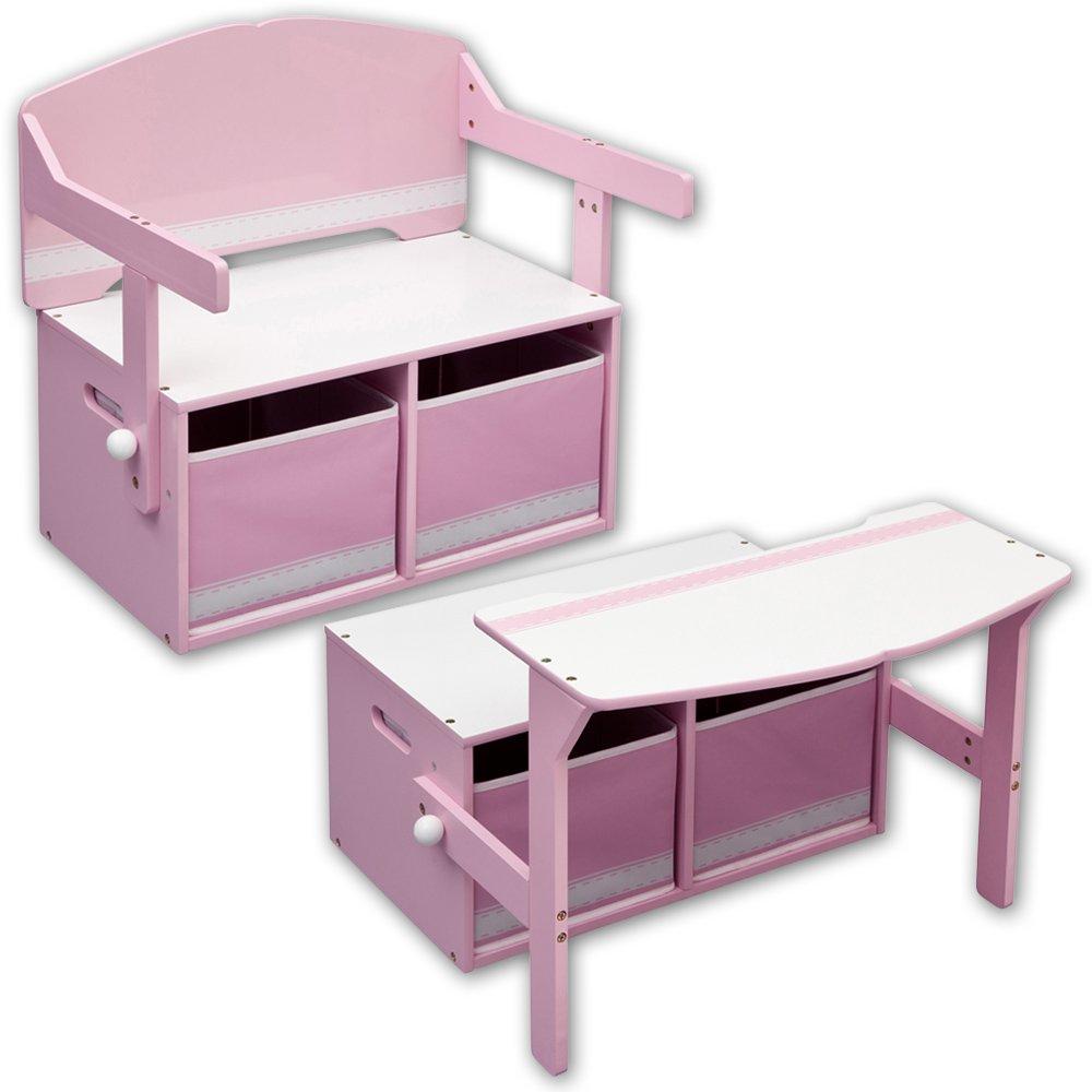 Kinderstuhl – Kindertisch – Kinderbank 3in1 mit Farbauswahl (weiß/rosa) günstig bestellen